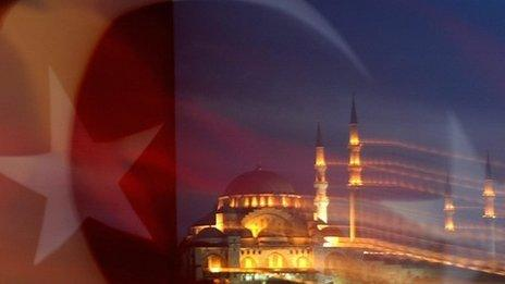 Istanbul mosque behind Turkish flag