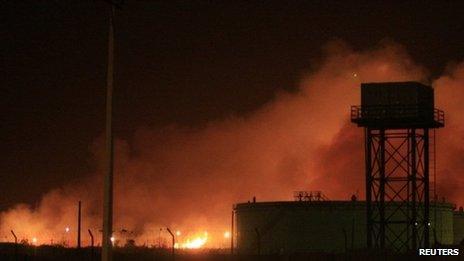 Fire engulf the Yarmouk ammunition factory in Khartoum 24 October 2012