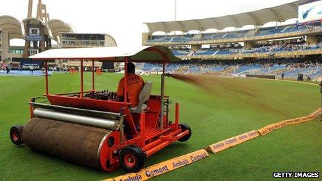 Super sopper roller at a cricket international in Mumbai