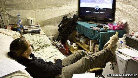 A soldier watching Downton Abbey