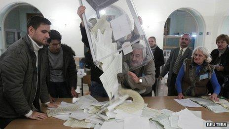 Ballot counting in Kiev, 28 Oct 12