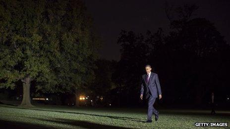 President Obama at White House at night