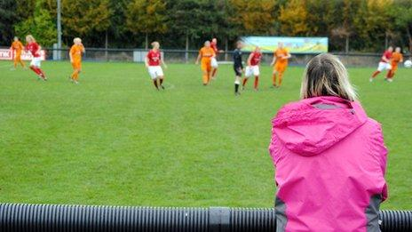 Fan watches Nottingham Forest Ladies play