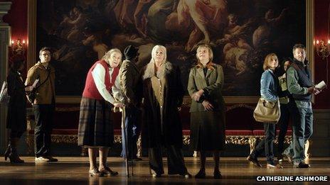 A scene from People – centre stage Linda Bassett – Iris, Frances de la Tour – Dorothy Stacpoole, Selina Cadell – June Stacpoole