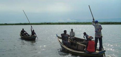 Fishermen on Lake Albert, Uganda, pictured in 2007