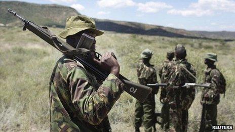 Kenyan police on patrol in Sugutu Valley