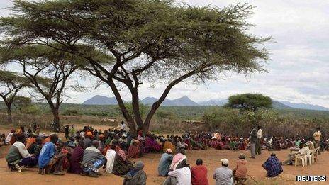 Kenyan Samburu residents attend a security meeting called by government officials in Baragoi town where policemen were killed in an ambush by cattle raiders in the remote northern region of Samburu district
