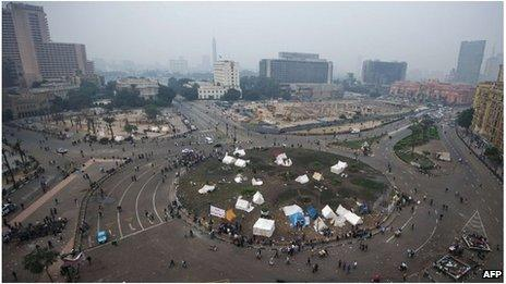 Tents in Tahrir Square, Cairo (24 Nov 2012)