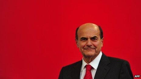 Pierluigi Bersani addresses supporters, file pic from 5 November 2012