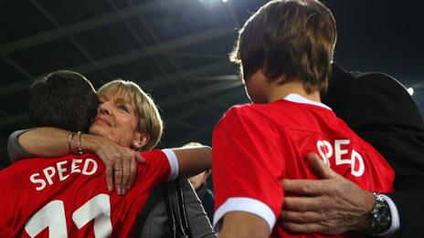Carol Speed with her grandsons at the tribute match