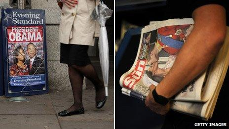 Newspaper front pages with Michelle and Barack Obama (left) and William and Kate's wedding (right)