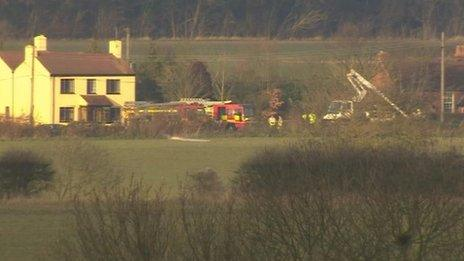 The site in Aldham where a light aircraft crashed