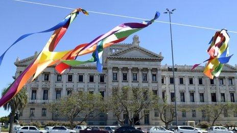 Gay rights ribbons flutter outside the Uruguayan Congress