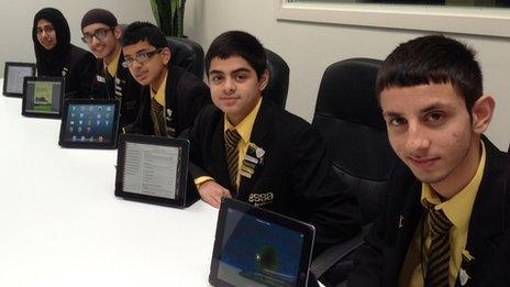 Pupils from Essa Academy with their iPads