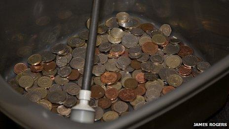 The money in the Mark's bucket