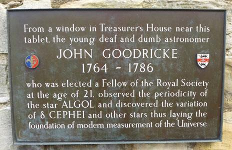 """Plaque in memory of """"the young deaf and dumb astronomer"""" John Goodricke at York Treasurer's House"""