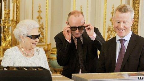The Queen with producer John McAndrew and director John Bennett