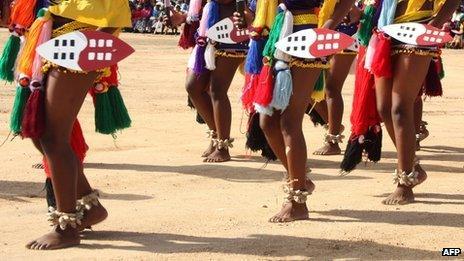 Women in traditional regalia in Swaziland (15 July 2011)
