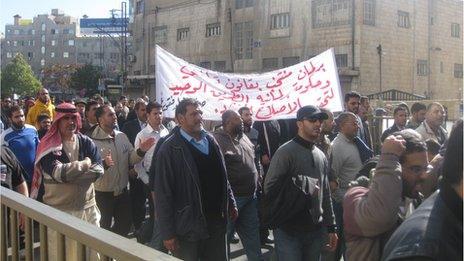 Anti-government protesters in Amman