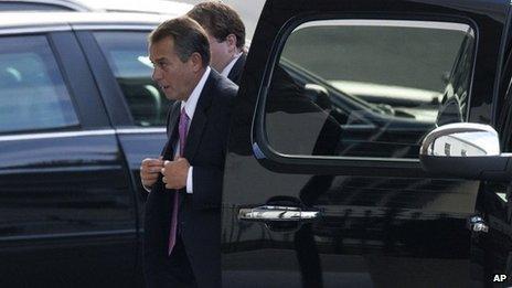 House Speaker John Boehner of Ohio arrives at the White House in Washington, 28 December 2012