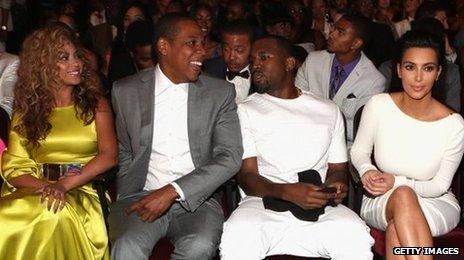 Beyonce. Jay-Z, Kanye West and Kim Kardashian