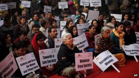 Indian protesters in Delhi, 5 January