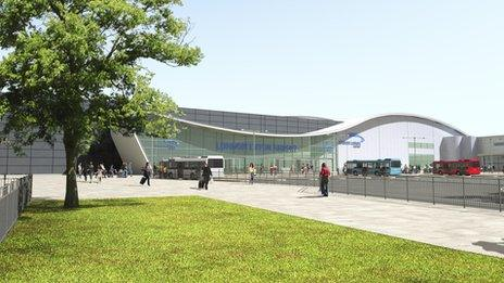 Artist's impression of the new look Luton Airport