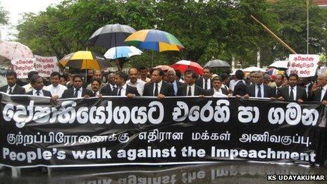 Lawyers in Sri Lanka protest on Thursday