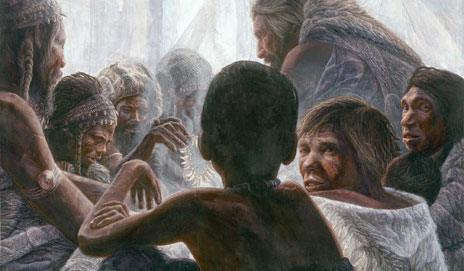 Early humans, left, talk and trade with Neanderthals