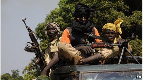 Seleka rebels near the town of Damara, Central African Republic, 10 January 2013