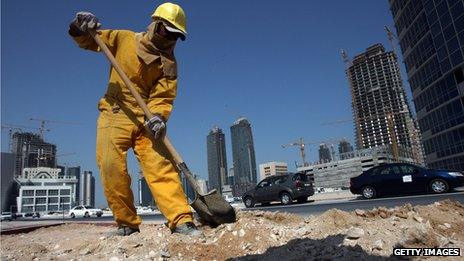 Construction worker in Doha, Qatar