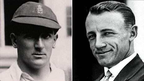 Harold Larwood (l) and Don Bradman