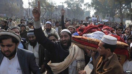 Protesters in Peshawar