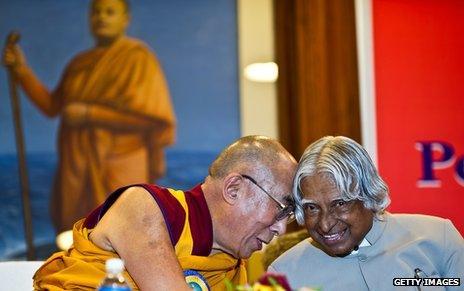 Dalai Lama and the former Indian president APJ Abdul Kalam
