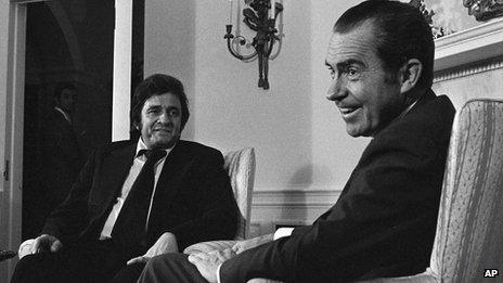 Johnny Cash talking to President Nixon in 1972