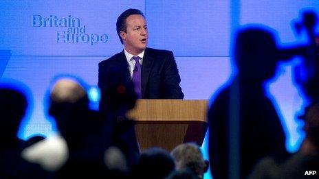 David Cameron speaking in London. 23 Jan 2013