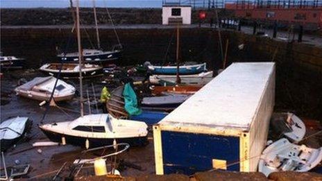 Container in North Berwick harbour