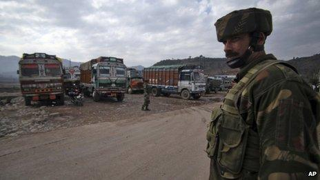 File photo of Indian army soldiers patrolling near the Line of Control trade centre at Chakan Da Bagh