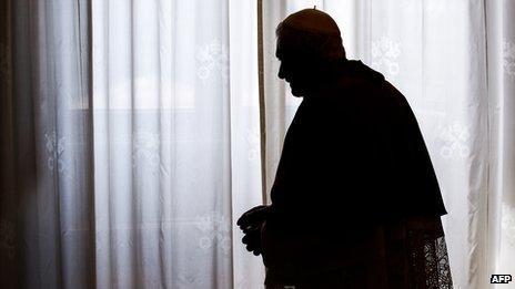 Pope Benedict in silhouette