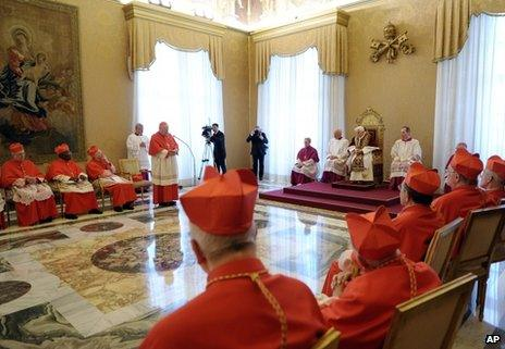 Pope reads his resignation letter to gathering of cardinals