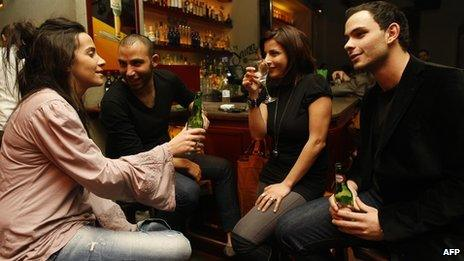 Young people in a bar in Lebanon