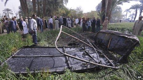 Scene of the balloon crash outside Luxor on 26/2/13
