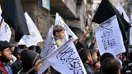 Nusra Front supporters at a protest in Aleppo - 08/02/2013