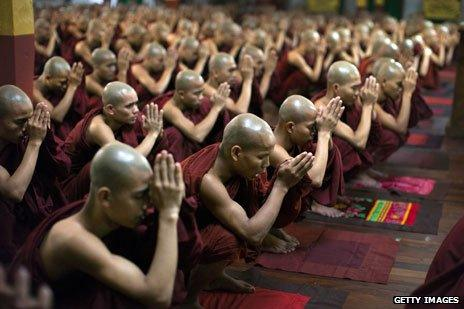 Buddhist monks in Burma