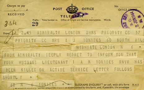 The telegram informing his family of Ltn Ionides' death