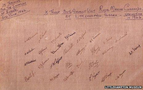 Signatures on back of the troop photo, taken in West Sussex in spring 1944