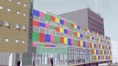 French artist Daniel Buren has come up with a bright design which could be created using coloured awnings, blind shutters or glass.
