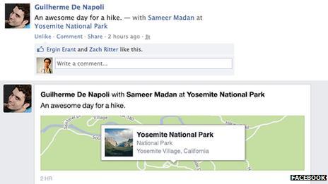 Facebook check-in screenshot