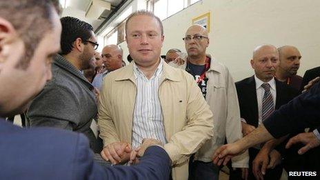Labour Party leader Joseph Muscat (centre) at the count in Naxxar, near Valletta, 10 March