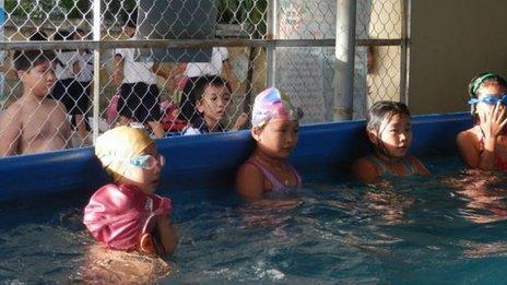 Kids in Vietnam learning to swim